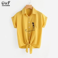 Cat Embroidered Cuffed Tie Hem Vertical Blouse  Summer Yellow Lapel Collar Blouse