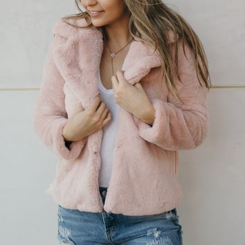 Teddy Faux Fur Coat-Blush