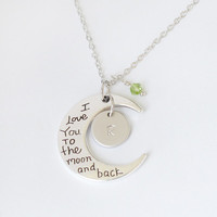 I love you to the moon and back necklace, personalized initial disc love jewrlry, birthstone necklace, graduation gift, fathers day gift