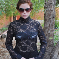 Black Floral Lace Victorian Style Long Sleeve Blouse S by SewRed