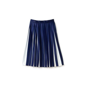 Women's Pleated Bicolor Jersey Mid-Length Skirt
