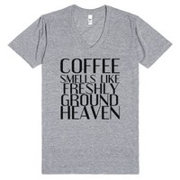 Coffee Smells Like Freshly Ground Heaven-Athletic Grey T-Shirt
