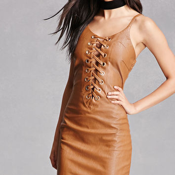 Faux Leather Strappy Dress