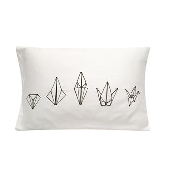 Paper Crane Screenprinted Pillowcase - Geometric, Neon, Tencel