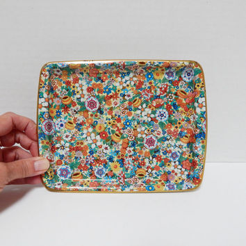 Vintage Daher Decorated Ware Tray, Chintz Floral Pattern