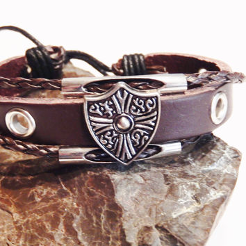 Woven Leather Bracelet with Metal Shield