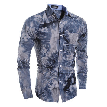 Long Sleeve Strong Character 3D Men Casual Print Slim Blouse = 6458477187