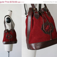on SALE. 90's Burgundy suede leather bucket shoulder bag, ethnic tribal drawstring handbag bag purse