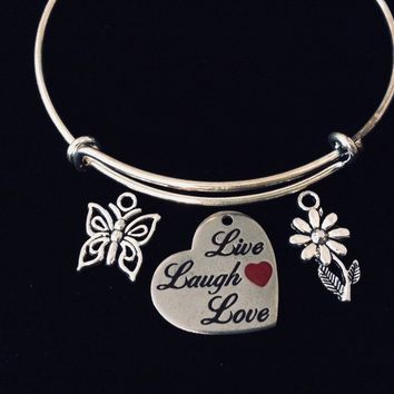 Red Heart Shaped Live Love Laugh Adjustable Charm Bracelet Expandable Silver Bangle Butterfly Daisy Jewelry One Size Fits All Gift