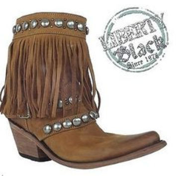 Liberty Black Brown Fringe/Silver Buckle Boot