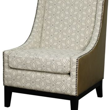 Harrison Accent Chair Black Legs, Geo Diamond/Vintage Taupe