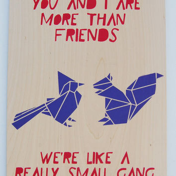 Best Friend Quote, Cute Geometric Animals on Plywood, Large Size Original Stencil Art, Hand painted Artwork.