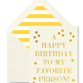 A Happy Birthday To My Favorite Person Greeting Card, Single Card or Boxed Set of 8