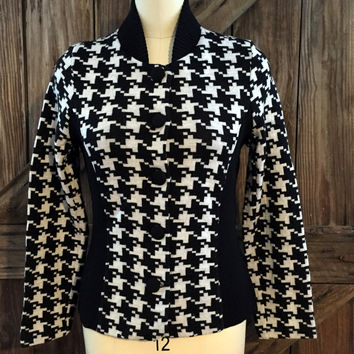 Pendleton New Button Sweater Houndstooth Medium $219 NWT