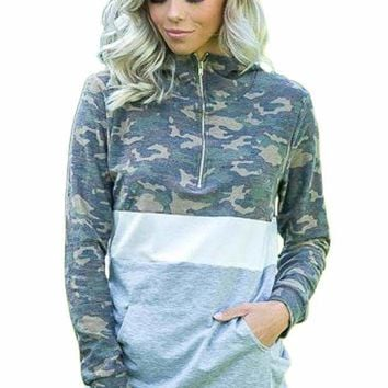 Camo White Gray Color Block Hoodie