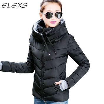 ELEXS Winter Jacket Women Parka Thicken Outerwear  Women Down Coats Short Slim Design Cotton-padded Plus SizeTW1504