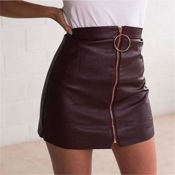 ESBONX5H Zippers PU Leather Skirt