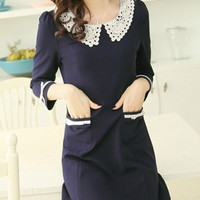 Blue Lace Pan Collar Pocketed Mini Dress