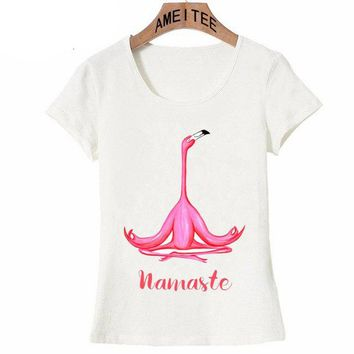 Meditating flamingo yogi and namaste T-Shirt Summer Women T-shirt Pink Flamingo Zen Art Print Casual Tops maiden Tees