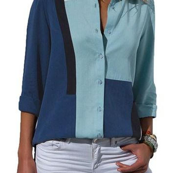 Women Navy Blue Color Block Button Down Long Sleeve Shirt