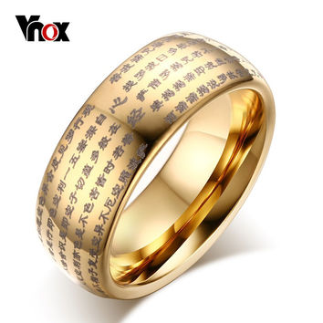 Vnox Chinese Words Buddhist Texts Dome Ring for Mens Woman 8MM Tungsten Carbide Jewelry Gold Silver