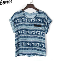 Women 2 Colors Aztec And Elephant Tribal Print Short Sleeve Ethnic Chiffon Blouse 2016 Spring Casual Loose Tops O Neck Clothing
