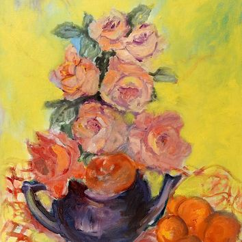 Teapot Roses & Oranges Still Life Painting