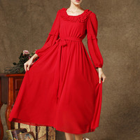 Cuff Sleeve Ruffled Neckline Waist Tie Maxi Dress