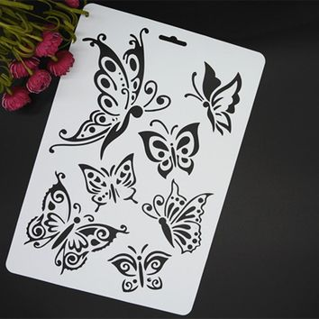2017 Butterfly Masking Spray Stencil For Walls Painting Embossing Paper Crafts Scrapbook Stamp DIY Tools Photo Album Card