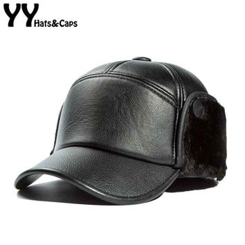 Trendy Winter Jacket New Old Men Faux Leather Snapback Hat Winter Warm Baseball Cap with Faux fur Inside Male Ear Flap Snap Back Fitted Hat YY17241 AT_92_12