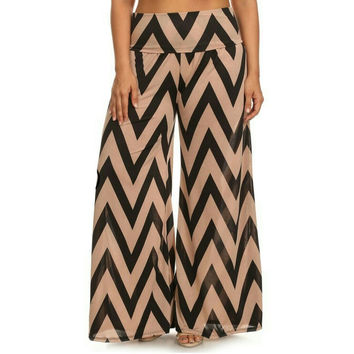 Tan Beige Black Chevron Design Plus Size Gaucho Palazzo Dress Pants