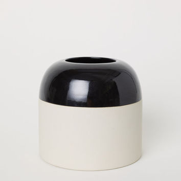 Stoneware Vase - Black - Home All | H&M US