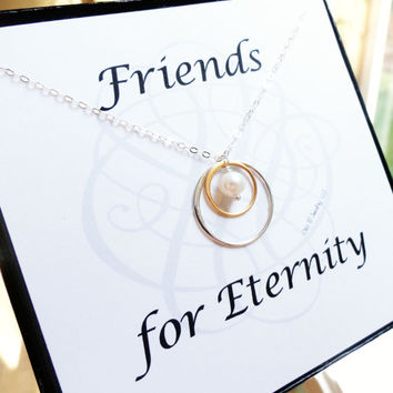 Friendship necklace and message card boxed gift set, bridesmaid gifts, eternity necklace with freshwater pearl