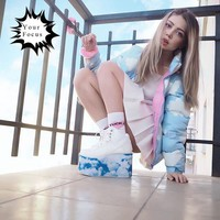 2017 Winter cute kawaii lolita sweet blue and baby pink clouds printed coats women winter jackets lazy oaf long coat