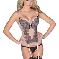 Be Wicked BW1515 1-Piece Pink Chemise with black Lace and ruffled trim