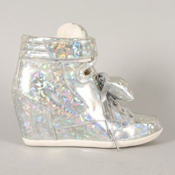 Privileged Amore Hologram Bow Lace Up Wedge Sneaker