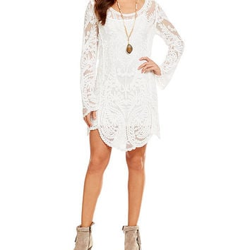 XOXO Long-Sleeve Lace Tunic Dress | Dillards