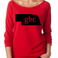 GBR. Nebraska state. Huskers Football. Go Big Red. Womens Slouchy sweatshirt. Ladies Slouchy. 3/4 Sleeve Off Shoulder
