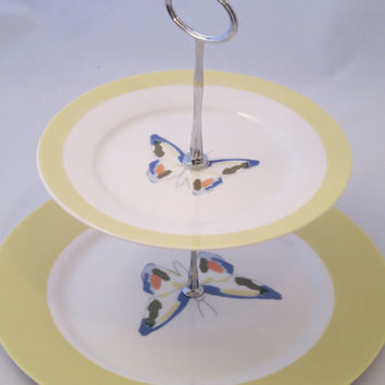 3 Tier Butterfly Plate Stand, Alternate Saucer or Cup, Yellow, Blue, Green, White, Spring, Summer, Dessert, Sandwich, Cupcake, Jewelry, Soap