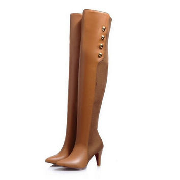 2016 autumn winter tall boots knee-length thin heels slim stovepipe fashion gaotong boots color block shoes female plus size 43