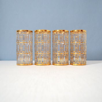 4 Vintage Imperial Glass Shoji Gold Trellis Highball Glasses