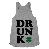 Drunk, Shamrock, Clover, Saint Patricks Shirt, St Paddys Day, Athletic Grey American Apparel Racerback Tank Top