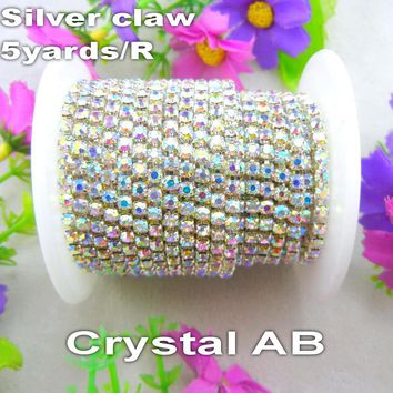 Factory sale 5yards/R High density Crystal AB clear color Rhinestone Silver base Close cup Chain Sew On glue on for craft diy