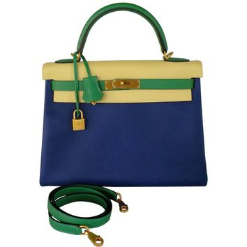 Hermes Kelly 32 Bag Tri Color HSS Bamboo Blue Electric Jaune Poussin Gold