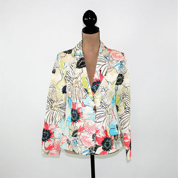 Silk Jacket Women Colorful Floral Print Embroidered Blazer Small Chicos 0 Womens Clothing