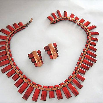 Matisse Renoir Choker Earrings, Red Enamel on Copper, Peter Pan Pattern, Copper Mid Century, Unsigned Jewelry Set