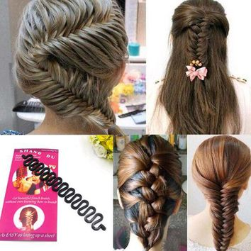PEAPYV3 1 PC Women Lady French Hair Braiding Tool Braider Roller Hook With Magic Hair Twist Styling Bun Maker Hair Band Accessories