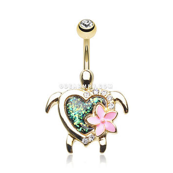 Golden Hawaiian Flower Turtle Opal Sparkle Belly Button Ring (Clear/Black)