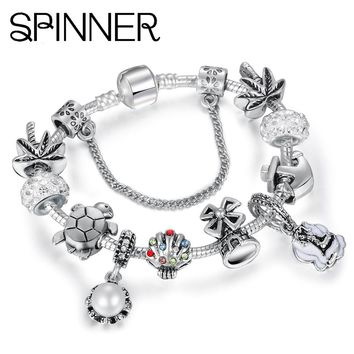 SPINNER Ocean Style Turtle anchor shell Charm Bracelet for Women With Crystal Ball fit Snake Chain Pandora Bracelets DIY Jewelry