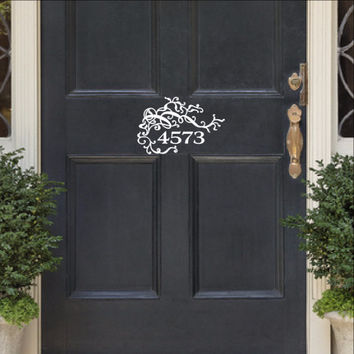 Vines and Flourishes Address Number Vinyl Door Decal 22535